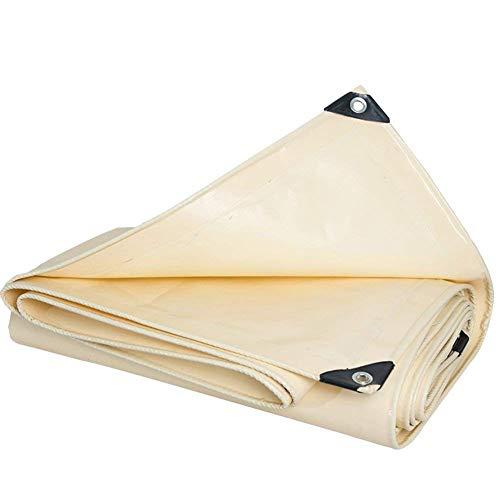 WCS Schwere Dicke PVC-Messerschaber Wasserdichte und Wasserdichte Plane mit Knopfloch, LKW, Boot, Wohnmobil, Camping Dach oder Pool Abdeckung Markise Tuch, Beige (600G / M2) Zelt-Kleint