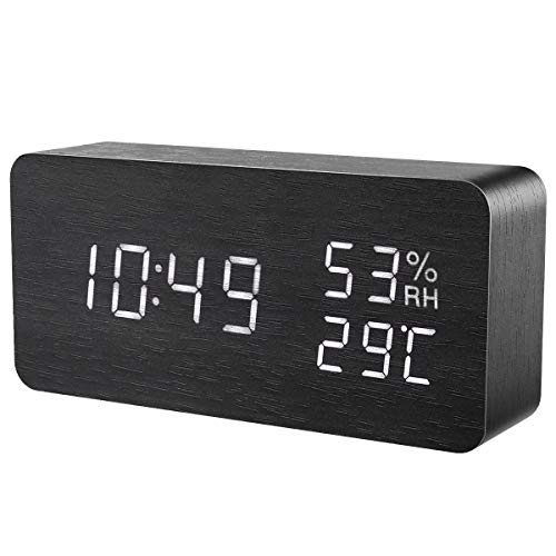 ORIA Reloj Digital Despertador de Madera, Digital Alarma Despertador con Tiempo Fecha y Año, Temperatura...