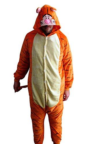 Flannel Kostüm Tiger Damen Herren Kinder Karnevalskostüm Faschingskostüm Verkleidung Fleece Overall Erwachsene Größe ()
