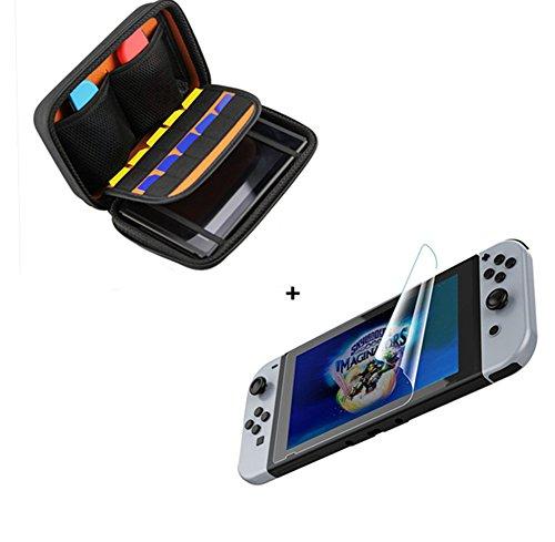 Switch Case - Chickwin Schützende Hard Cover EVA Tragetasche Hülle Pouch für das Nintendo Switch Konsole and Accesoires + Schirm-Schutz * 1 (10 Spielpatronen)
