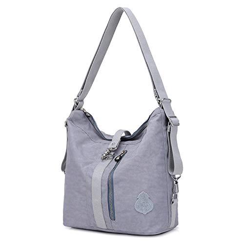 Outreo Bolso Bandolera Mujer Bolsos de Moda Impermeable Mochilas Bolsas de Viaje Sport Messenger Bag Bolsos Baratos Mano para Escolares Tablet Nylon (Gris)