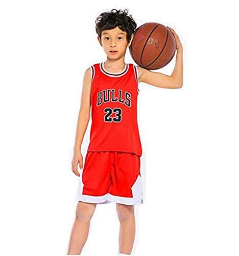 LLZYL Jungen- Und Mädchen-Basketballtrikot - NBA 23# All-Star-Bullen Michael Jordan, Sommer-Kinder-Jersey-T-Shirt, Cooles, Atmungsaktives, Klassisches Ärmelloses Top Und Shorts,Red,S:120~130cm