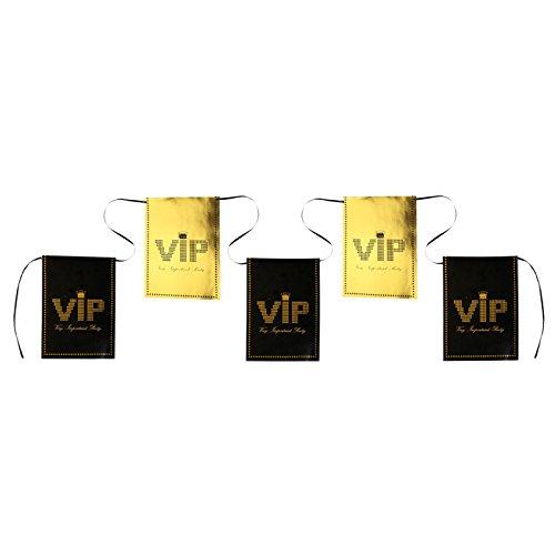 PARTY DISCOUNT NEU Flaggenkette VIP, 6m lang, schwarz/gold 1 ()