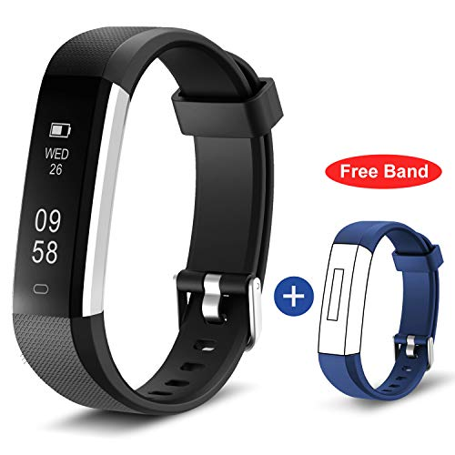 HolyHigh 115U Smart Fitness Band, Waterproof Fitness Tracker Watch for Men Women Kids Step Counter Claroie Counter Messages Call Alarm Reminder Cameral Shoot Black