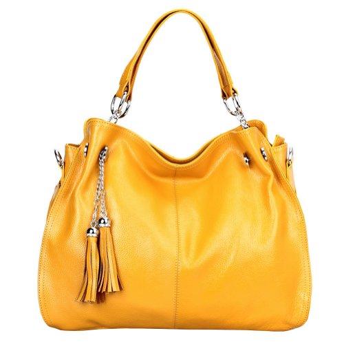 E-girl Q0217 Damen Gelb Leder Handtaschen Top Handle Satchel Tote Taschen Schultertaschen 38x28x14cm (B x H x T) -