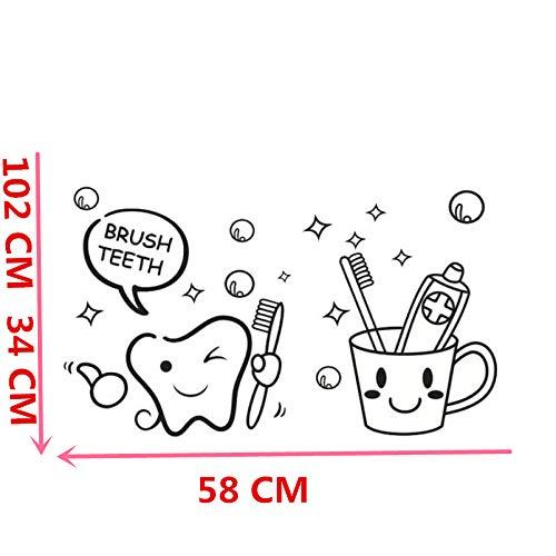 zhuziji Happy Home Abnehmbare Wandtattoo Aufkleber Dekorative Kindergartenkinder Baby Zahnbürste Zahnbürste Wand Stick 58 X 102 cm