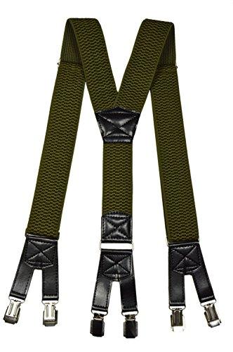 Hosenträger extra starken für Herren mit 6 Clips Y-Form - 4cm. Olivgrün -