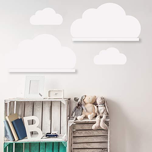 Wolken Set Wandtattoo Passend für Deine IKEA RIBBA/MOSSLANDA Bilderleisten für Babyzimmer Kinderregale (Weiss)