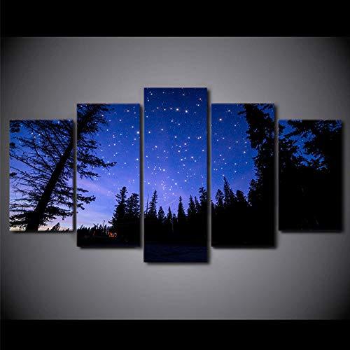 Aisufen HD arte de la pared de la impresión 5 pedazos del Bosque hermoso Cielo estrellado de la Noche Vista de la pintura decoración de la sala de Estar Marco modular lienzo imagen -30CMx40/60/80CM