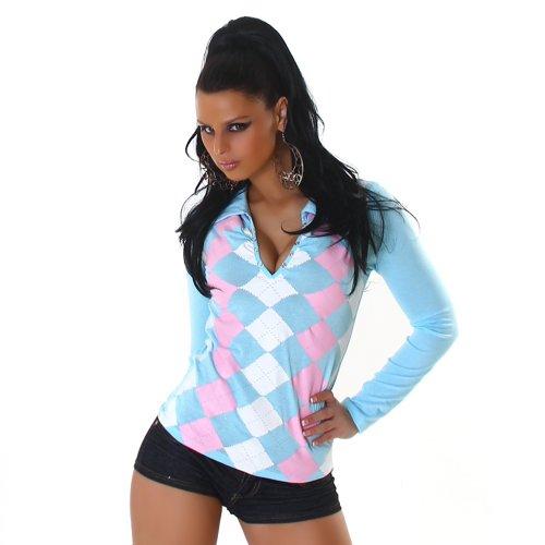 Jela London Damen Langarm-Shirt Karo-Rauten Größen 34-36 und 38-40 verschiedene Farben Türkis