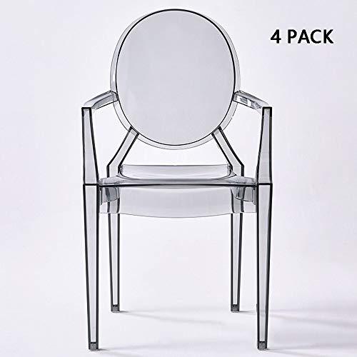 Mimi king set di 4 sedia in plastica sedia da pranzo in acrilico trasparente moderno semplice sedia creativa sedia ristorante in plastica,gray+handrail