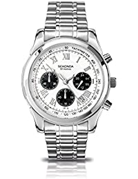 Sekonda Men's Quartz Watch with White Dial Chronograph Display and Silver Stainless Steel Bracelet 3417.71