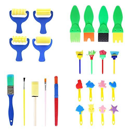 25 Pezzi Spugne da Pittura per Bambini Kit di Pittura per Bambini Pennelli di Spugna Pittura Bambini Pittura Kit Apprendimento Iniziale Pennelli