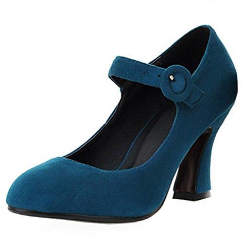 COOLCEPT Femmes Classique Mary Janes Escarpins Cheville Chaussures Talons Bloc Vert