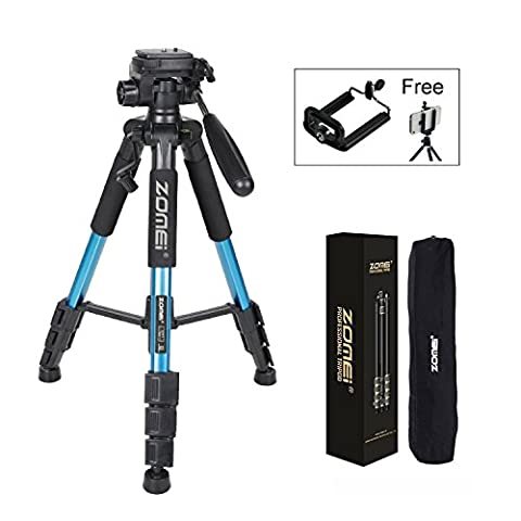 Zomei Q111 Protable 55in Pro Aluminium Compact Lightweight Camera Tripod with Pan Head and Quick Release Plate for Digital SLR Canon EOS Nikon Sony Panasonic Samsung (Blue)