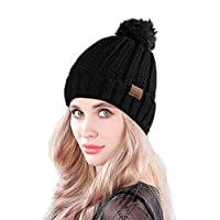 MUCO Womens Beanie Winter Hat Knit Chunky Faux Fur Warm Linling Pom Poms Hat Bobble Hat Ski Cap