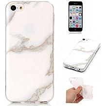 Meeter Funda para Aapple iphone 5C, iphone 5C Funda Silicona Mármol, Mármol Diseño Funda de Silicona Suave Case Cover Protección cáscara Soft Gel TPU Carcasa Funda para iphone 5C - Blanco y gris