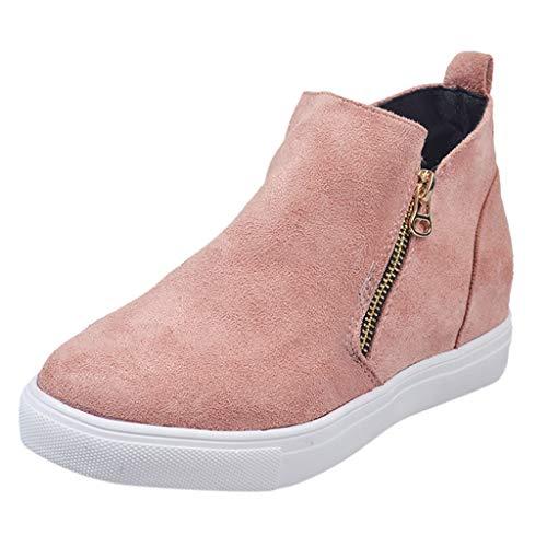 NMERWT Herbst und Winter Damen Boots Frauen Flache beiläufige Zipper Single Schuhe Plus Size Booties Studenten Laufschuhe -