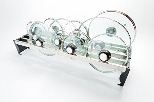 Lid Solution Porta Coperchi in Acciaio Inox, Larghezza Regolabile (4 scomparti, Nero o Blu)