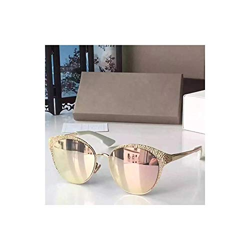 FORTINGBAR Damenmode Oval Frame Metall Sonnenbrille, polarisierte Linse Material: Harz + Metall (Farbe : Rosa)