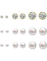 Lureme®9 pares ordenados de diferente tamaño en 4 mm, 6 mm, falsa perla 8mm y bling bling de pendientes de cristal set - dorado (02004678)