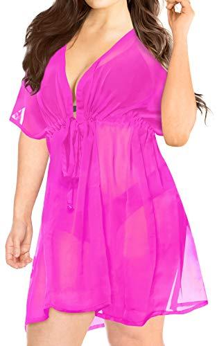 LA LEELA bloße Chiffon Feste Plus und eine Größe vertuschen Kaftan Crayola Badebekleidung Strand-Bikini-Vertuschung Tunika StrabdKleid Kaftan Cover ()