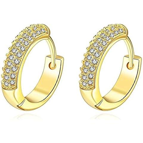 Alimab Gioielli Placcato in oro donne cerchio rotondo canale impostazione orecchini in oro