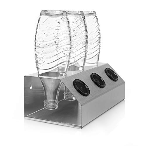 ktDesign Premium 3er Abtropfhalter mit Abtropfschale aus Edelstahl für z.B. Sodastream Crystal inkl. Deckelhalterung - Made IN Germany - geschliffener Edelstahl 4301 - rostfrei -