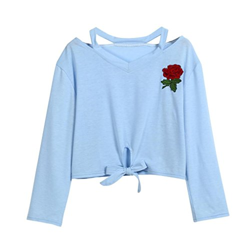 LILICAT Frauen Langarm Tuniken Herbst Sommer Crop Top Mode T-Shirt Rose Blumen Gedruckt Shirt Bluse Damen Sweatshirt Vintage Oberteile V-Ausschnitt Freizeit Weste Baumwolle Hemden (M, Blue) (Crochet Crop)