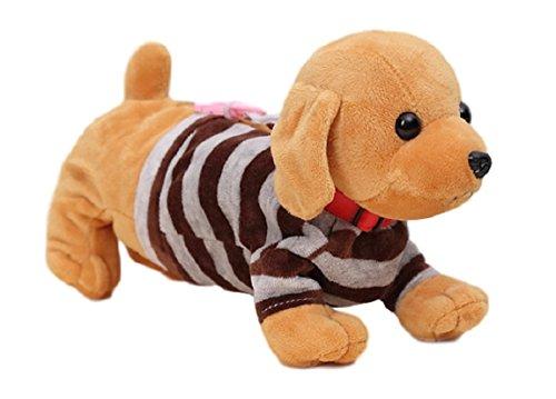 Flauschiges Federmäppchen/Schlampermäppchen/Schulmäppchen: süßes Hundewelpen/Hündchen inkl. gestreiftem Pulli und Plüsch-Ohren (mit Reißverschluss) (Hellbraun (Golden Retriever)) -