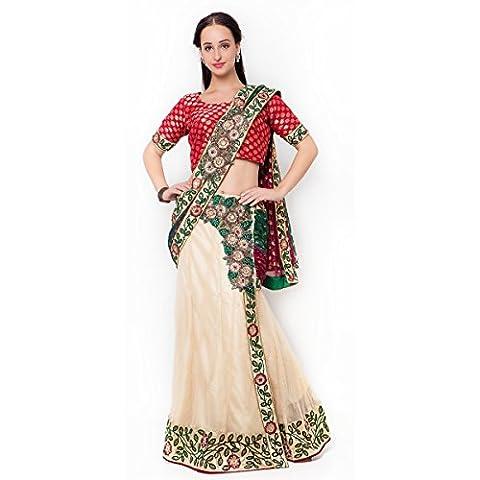 Triveni Indian Women's Traditional Marron, Green, Cream Marron Lehenga Saree - TSMH2513