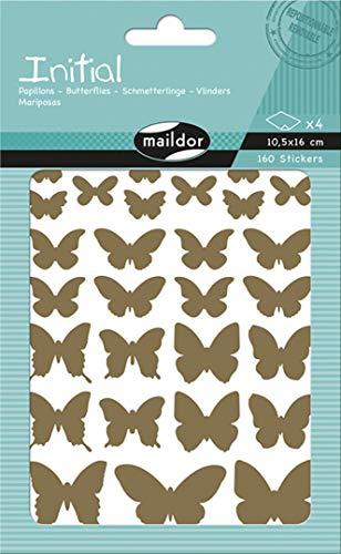 Maildor AE028O Packung Stickers Initial in Gold und Silber (4 Bögen, 10,5 x 16 cm, 160 Stickers, ideal für Kinder ab 5 Jahren, Schmetterlinge) -