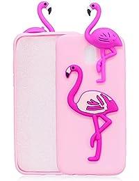 Galaxy J7 2017 Case, TPU Ultra Slim Candy Silicone Cover for Samsung Galaxy J7 2017, BONROY® Christmas Series 3D Flamingo Pattern Design Slim Soft Flexible TPU Silicone Case Lightweight Back Bumper Rubber Shockproof Protective Case for Samsung Galaxy J7 2017 / J730 - Pink
