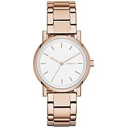 DKNY NY2344 - Reloj de cuarzo con correa de acero inoxidable para mujer, color rosa