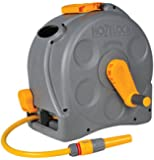 Hozelock 2-in-1 Compact Enclosed Hose Reel with 25 m Hose and Connectors, Assorted (Grey/Green)