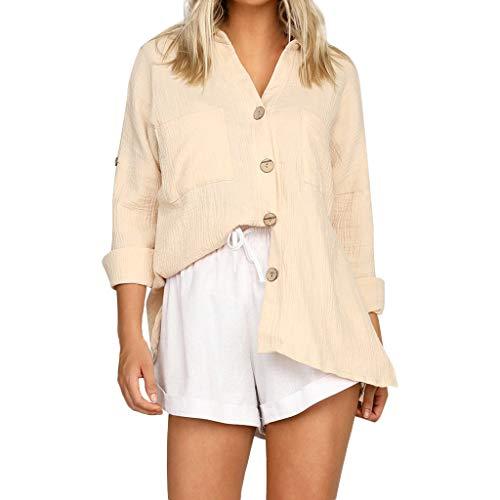 CAOQAO Damen Lose Knopf Lang Hemd Kleid Leinen Damen Lässig Oberteile T-Shirt Bluse(XXL,Beige)