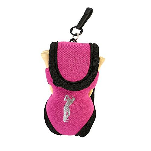 Alomejor Golfball Tasche, Tragbare Golfballtasche Pouch, Golf Ball Gürteltasche Zubehör(Pink)