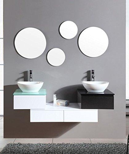 Mobile arredo bagno smeraldo cm 150 sospeso bianco con lavabo d'appoggio con specchi mobili