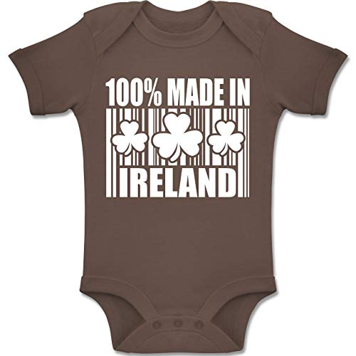 Shirtracer Strampler Motive - 100% Made in Ireland - 1-3 Monate - Braun - BZ10 - Baby Body Kurzarm Jungen Mädchen (Oma Kostüme Irland)