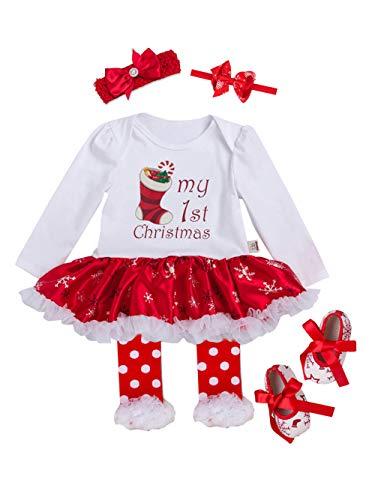 URBEAR Baby Mädchen Weihnachten Strampler Tutu Kleid Bekleidung 5 er Pack Weihnachtssocke 3-18 Monat