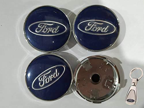 Set Coprimozzo Ford 60 mm con Portachiavi in Omaggio Blu KA Kuga Fusion Fiesta Focus Mondeo