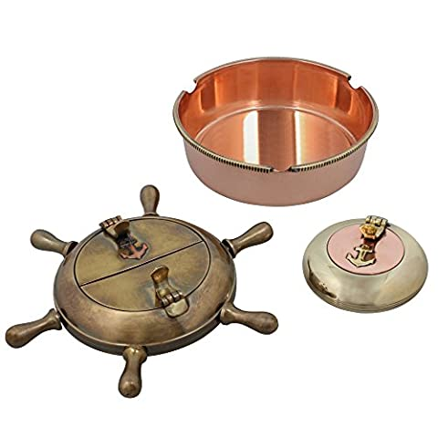 Indian Home Decor Set Of Three cigarette Cendriers Laiton Métal intérieur Accessoires