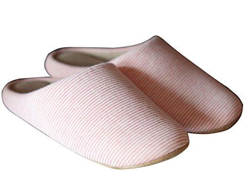 Minetom Unisexe Stripe Hiver Pantoufles À Motifs Douces Chaussures Intérieur Pantoufles Europe Taille Rose