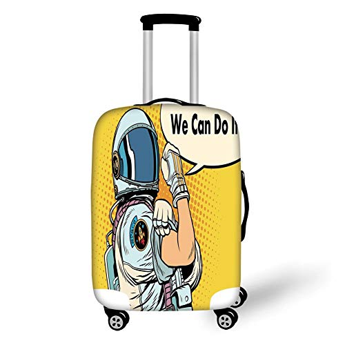 Travel Luggage Cover Suitcase Protector,Astronaut,Astronaut Version of We Can Do It Feminism Science Space Corps Comic Character Decorative,Multicolor,for Travels 19x27.5Inch