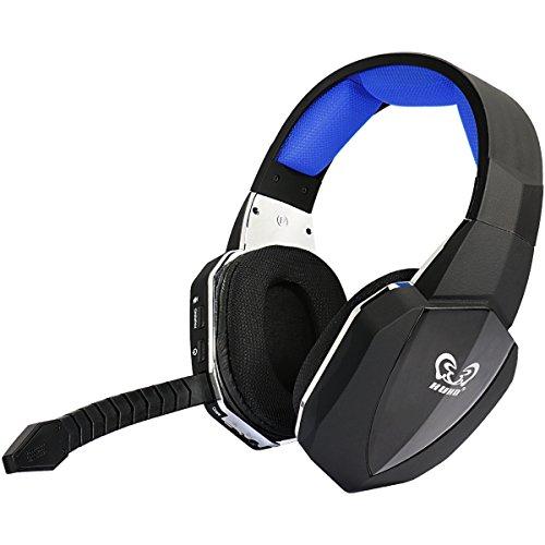 EasySMX [Virtual 7.1 Sonido] 2.4GHz Auriculares Gaming Inalámbricos de diadema para Xbox 360 PS4 PS3 Xbox UNA PC y Mac con Batería Recargable y Desmontable Mic-Azul