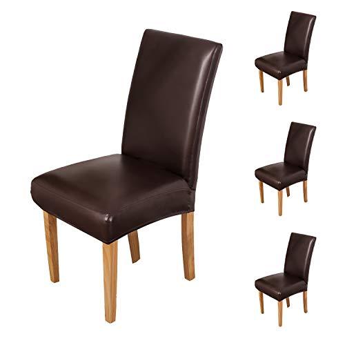 OSVINO 2er/4er Set Stuhlhussen PU Leder Stuhlbezug wasserabweisend Stretch für Haus Büro Restaurant, Braun 4 Stücke