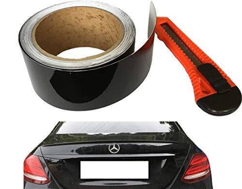 10Meter Premium Autofolie Schwarz Metallic für Chromleisten Grille Zierleisten folieren - Folie inkl. CUTTER Do It Yourself Ohne Lackieren - für Laien - 5cm Breit x 10Meter