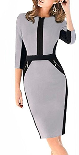 Smile YKK Femme Slim Robe Manche 3/4 Zippé Jointif Hanche Jupe Vogue Gris