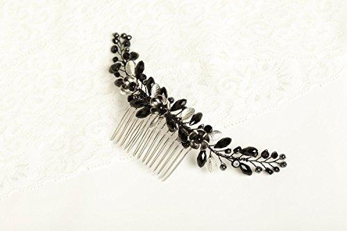 Kercisbeauty da sposa damigelle perline di cristallo nero e argento fiore capelli lunghi pettine sposa con pettine copricapo lungo ricci chignon capelli, accessori matrimonio