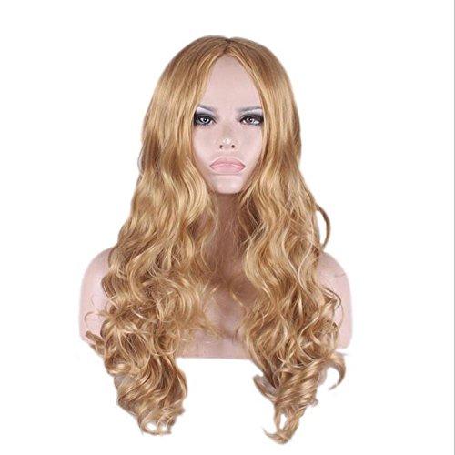 HAOBAO Frauen Lange lockige Abendkleid Perücken Blonde Cosplay Kostüm Damen Perücke Party Kostenlose Perücke Cap (Tanz Party Prinzessin Kostüme Perücke)